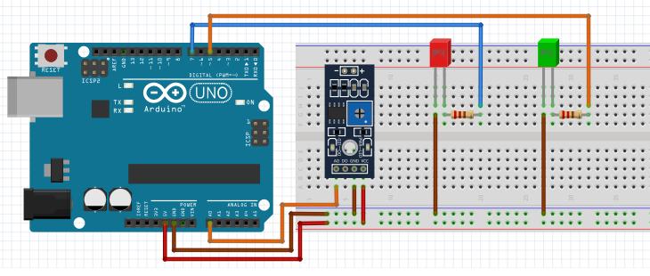 Arduino Toprak Sensörü - 2 Uyarı Led Devresi