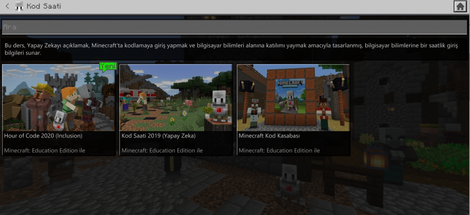 Minecraft Education Kod Saati Dünyaları