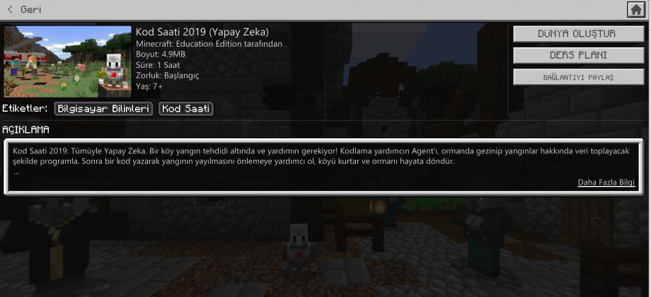 Minecraft Education Kod Saati 2019 (Yapay Zeka)