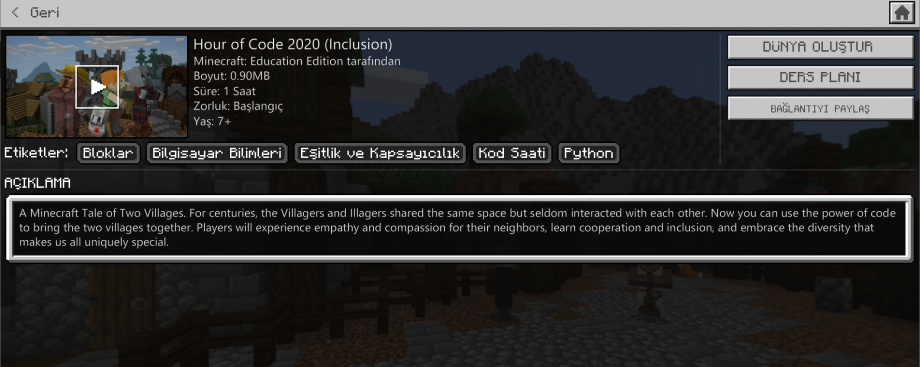 Minecraft Education Hour Of Code 2020