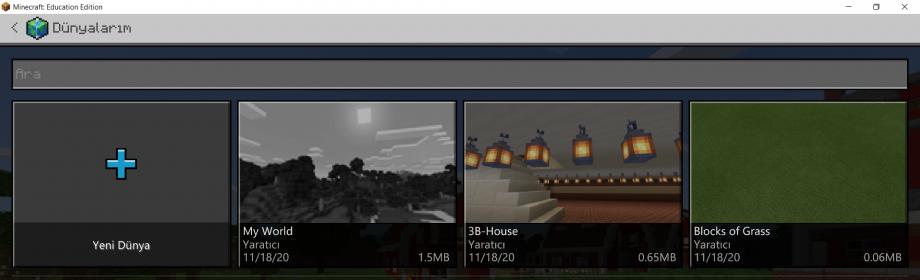 Minecraft Education Dünyalarım Ekranı