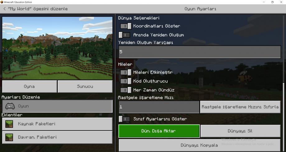 Minecraft Education Dünya Ayarları