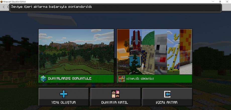 Minecraft Education İçeri Aktarma