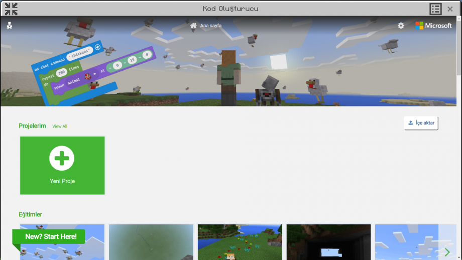 Minecraft Education MakeCode Yeni Proje Oluşturma