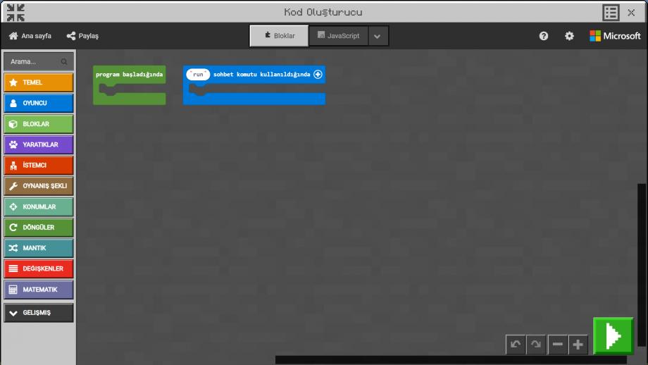Minecraft Education MakeCode Kodlama Ekranı