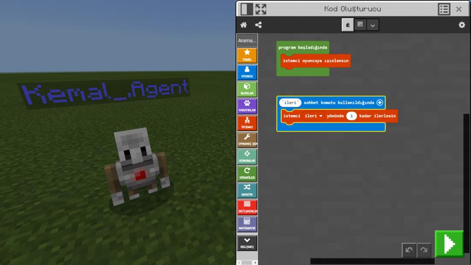 Minecraft Education MakeCode Ekranı