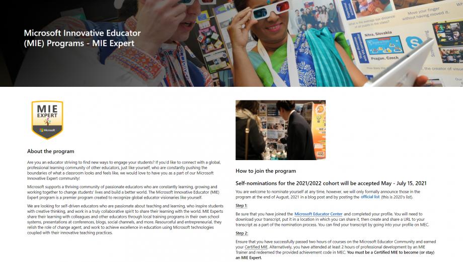 Microsoft MIEExpert Başvuru Sayfası