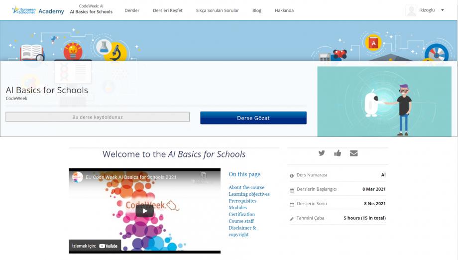 Okullarda Yapay Zeka Eğitimi MOOC