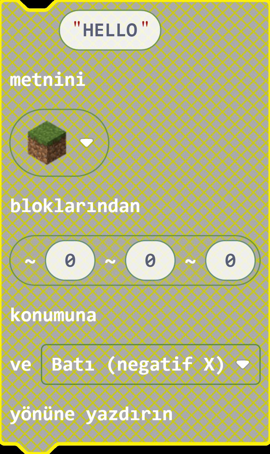 Minecraft Education MakeCode Hızlı Yazı Yazma